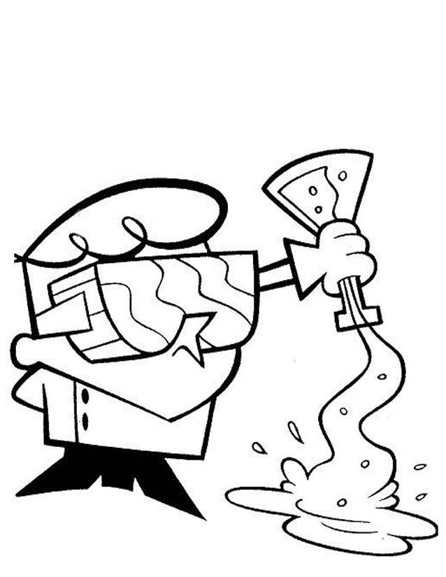 Free coloring and drawings Dexter pours the tube Coloring page