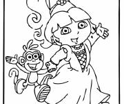 Coloring pages Dora and Boots leave for a party