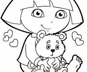 Coloring pages Dora and her teddy bear