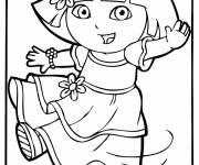 Coloring pages Dora in dress cartoon