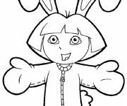 Coloring pages Dora in rabbit costume