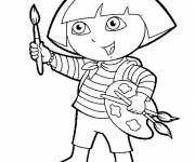 Coloring pages Dora is holding a paint brush