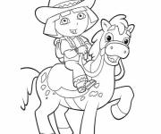 Coloring pages Dora with a horse