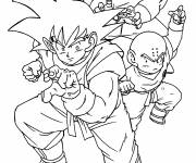 Coloring pages Dragon Ball Z Gohen and his friends