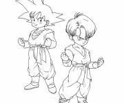 Coloring pages Dragon Ball Z Son and Trunks