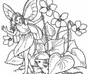 Coloring pages Butterfly Elf surrounded by Flowers
