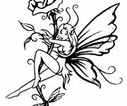 Coloring pages Elf and Flower