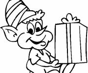 Coloring pages Elf and Gift