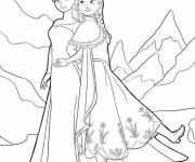 Coloring pages Queen Elsa and Anna