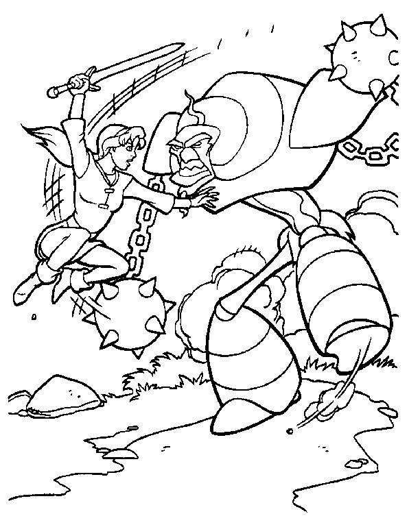 Free coloring and drawings Excalibur and The Battle Coloring page
