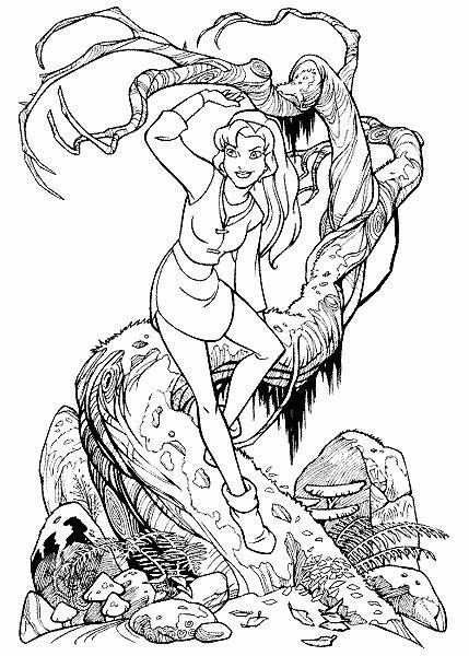 Free coloring and drawings Excalibur Kayley on tree Coloring page