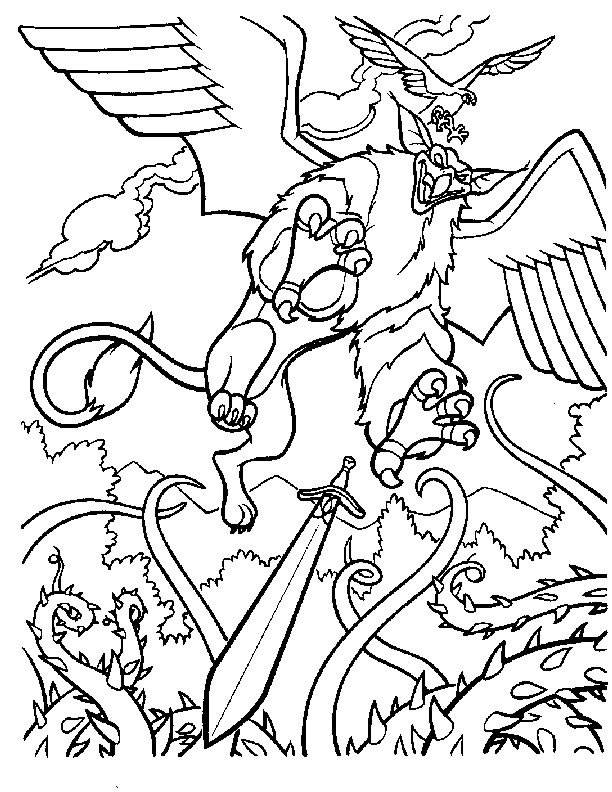 Free coloring and drawings Excalibur scene Coloring page