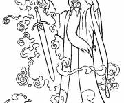 Coloring pages Excalibur the magician