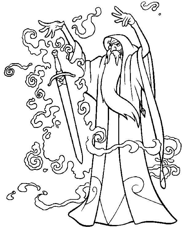 Free coloring and drawings Excalibur the magician Coloring page