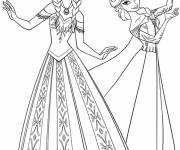 Coloring pages Elsa and Anna online