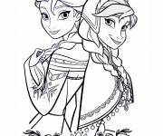 Coloring pages Elsa and Anna united