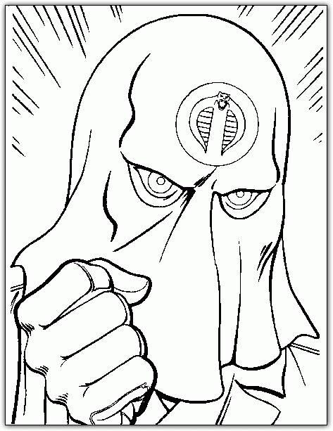 Free coloring and drawings A masked face from the GI-Joe film Coloring page