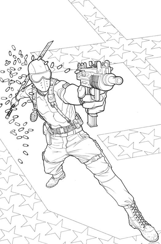 Free coloring and drawings A masked soldier to color Coloring page