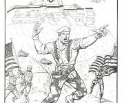 Free coloring and drawings GI-Joe fighting to color Coloring page