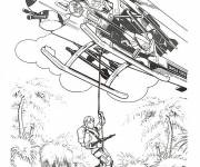 Coloring pages Soldiers get down from helicopter