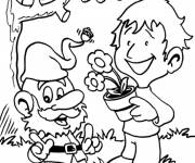 Coloring pages Drawing Gnomes and child