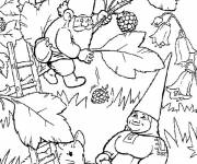 Coloring pages Gnomes and blackberries online