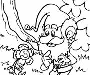 Coloring pages Gnomes and flower in color