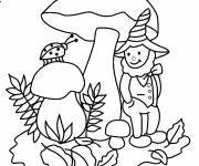 Coloring pages Gnomes and ladybug