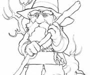 Coloring pages Gnomes carries his stick