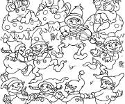 Coloring pages Gnomes sing and dance