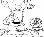 Coloring pages Little Gnome and Flower