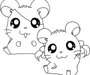 Coloring pages Hamtaro and Bijou