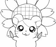 Coloring pages Hamtaro holds sunflower seeds