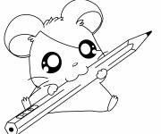 Coloring pages Hamtaro is holding a pencil