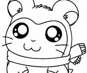 Coloring pages Hamtaro the cute hamster