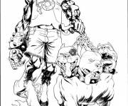 Coloring pages Drawing devil and his dogs