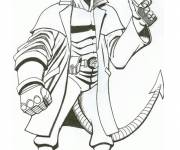 Coloring pages Hellboy carries his gun online