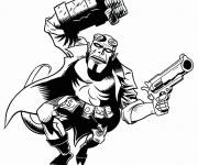 Coloring pages Hellboy on the attack