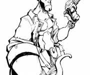 Coloring pages Hellboy the devil drawing