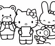 Coloring pages Beautiful Hello Kitty and her friends