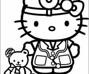 Coloring pages Hello Kitty Doctor