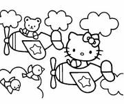 Coloring pages Hello Kitty drives an airplane