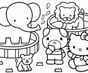 Coloring pages Hello Kitty has fun