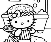 Coloring pages Hello Kitty is showering