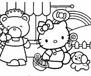 Coloring pages Hello Kitty is walking
