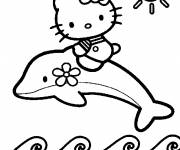 Coloring pages Hello Kitty on a daulphin