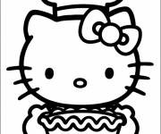 Coloring pages Hello Kitty prepared a cake