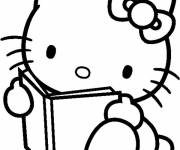 Coloring pages Hello Kitty reads a book
