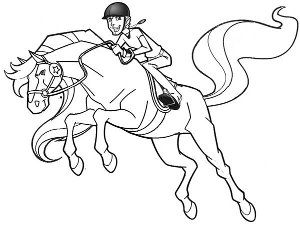 Free coloring and drawings Horseland in full jump Coloring page