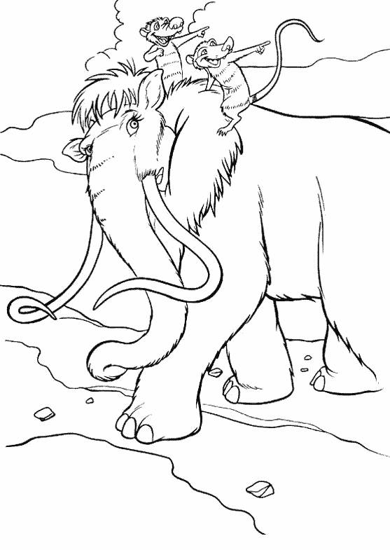 Free coloring and drawings Ellie, Crash and Eddie travel together Coloring page
